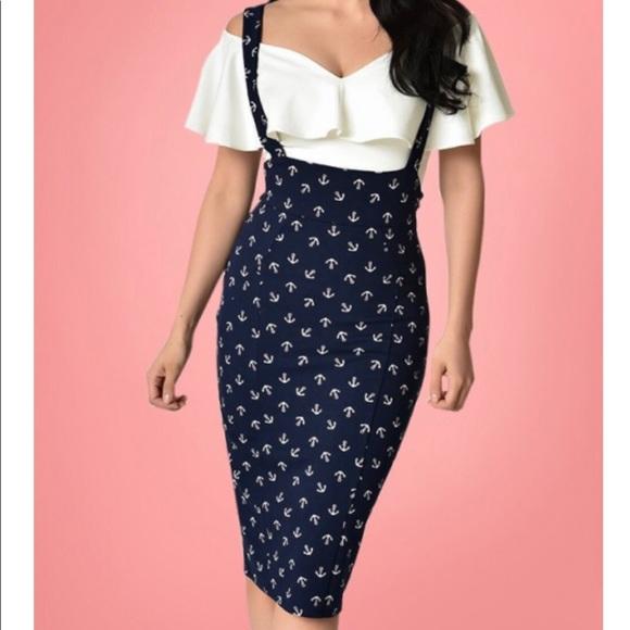 1c68a20300 Unique Vintage Skirts   Sabrina Anchor Suspender Pencil Skirt Pin Up ...